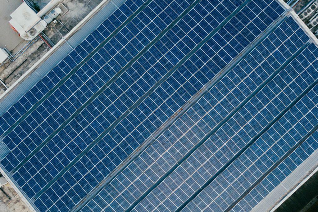 solar panels rooftop top view